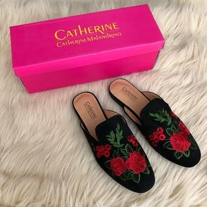 CATHERINE MALANDRINO embroidered suede Mules
